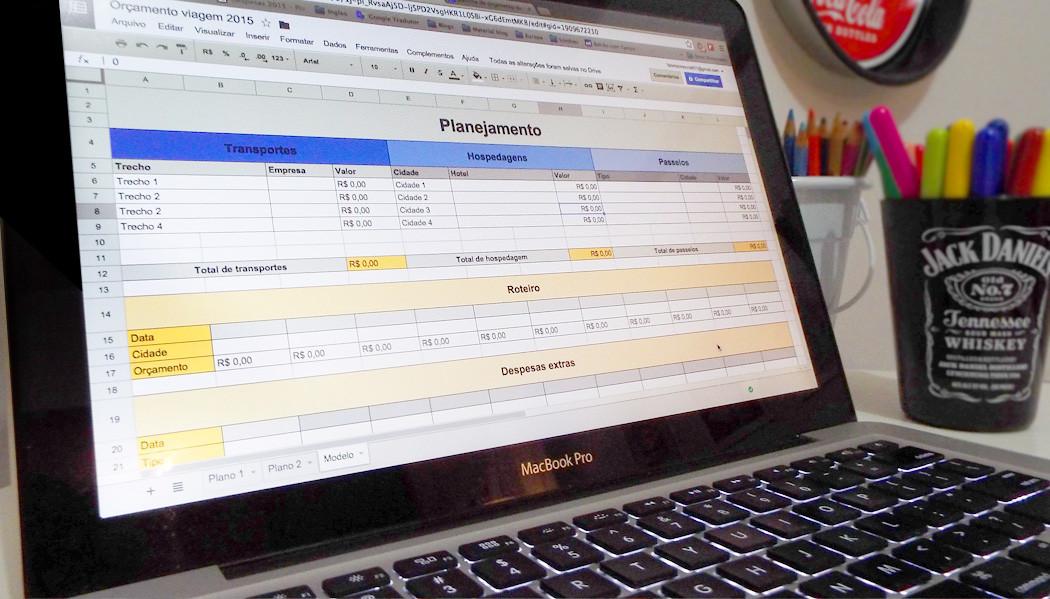 planilha de orçamento de viagens