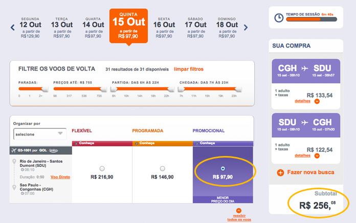 E o vôo de volta é ainda mais barato, R$ 97,90. Total da viagem já com despesas de embarque: R$ 256,08