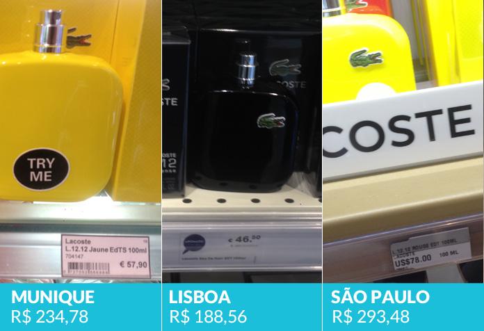 Lacoste (a imagem de Lisboa não é o mesmo perfume de Munique e São Paulo, mas essa linha tem o mesmo valor para todas as fragrâncias)