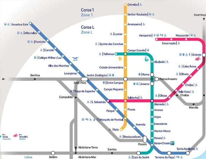 Mapa da rede metroviária de Lisboa