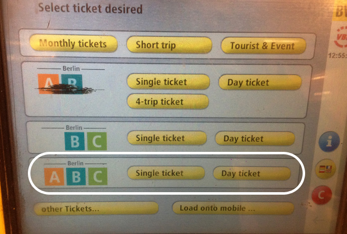Passo 2: escolha o tipo de bilhete