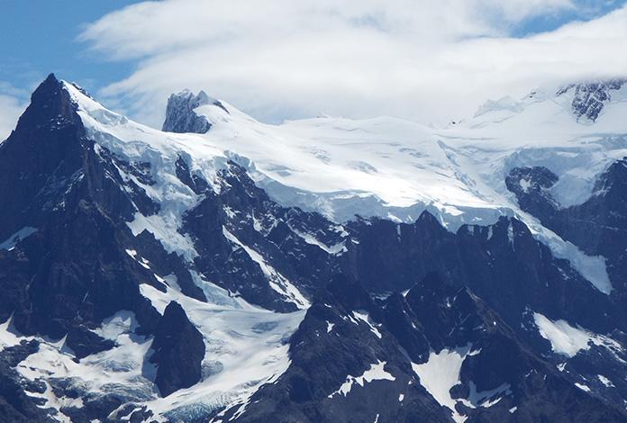 Zoom nos picos nevados