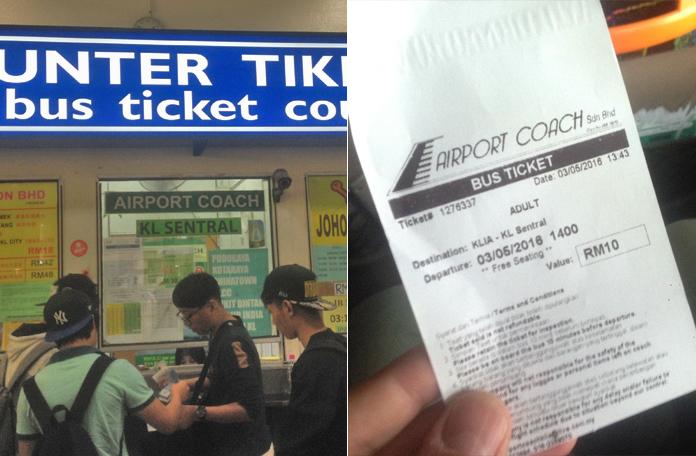 Balcão da empresa de ônibus e o bilhete