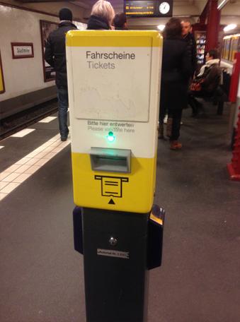 Máquina para validar os bilhetes