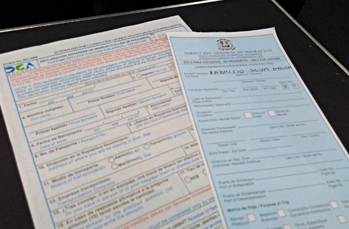 Formulários para a imigração em Punta Cana