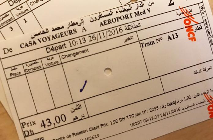 Bilhete do trem de Casablanca ao aeroporto