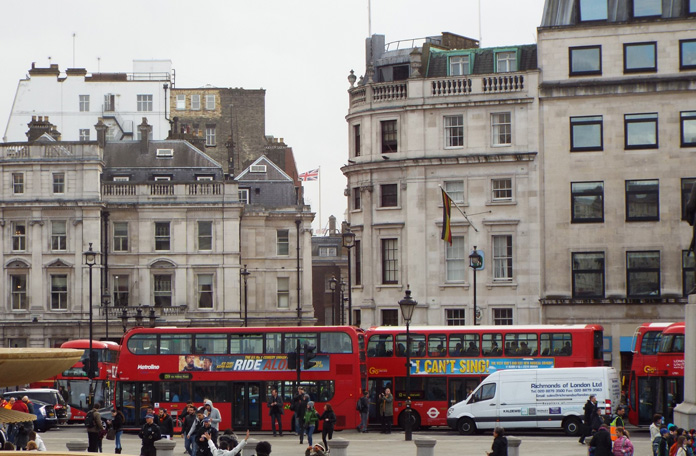 Chegada na Trafalgar Square