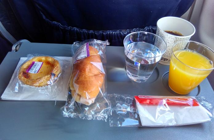 Serviço de bordo no voo de ida