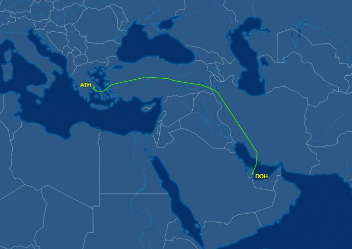Doha até Atenas
