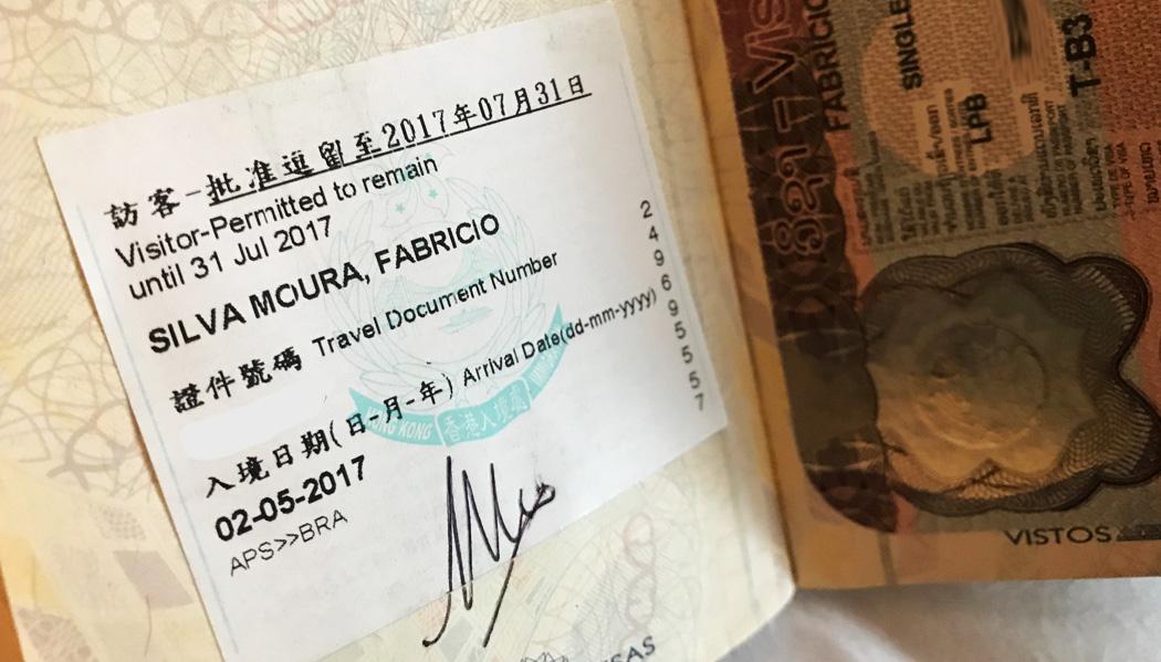 Visto para Hong Kong