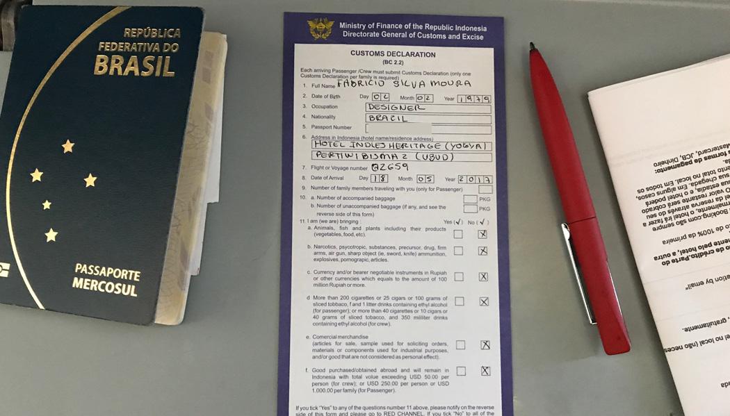 Formulário de imigração na Indonésia