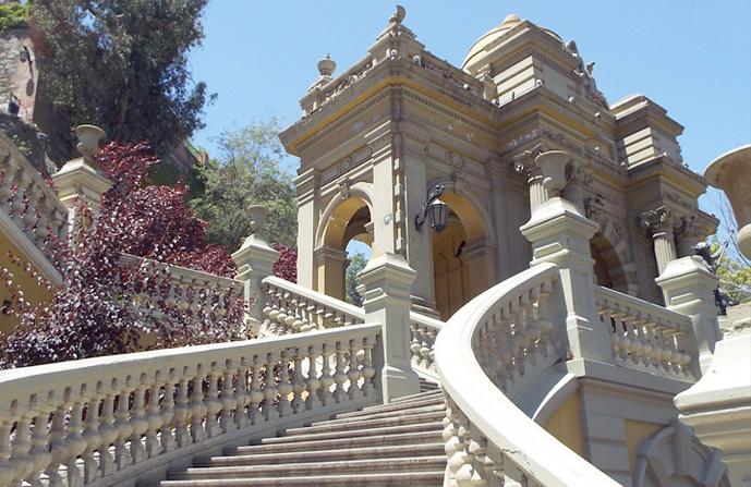 Uma das escadarias do Cerro Santa Lucia