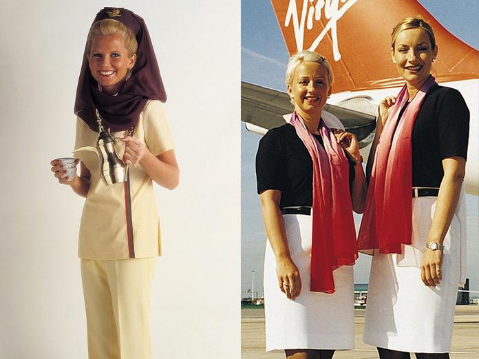 Gulf Air (esquerda), anos 70 e Virgin Atlantic (direita), anos 90.