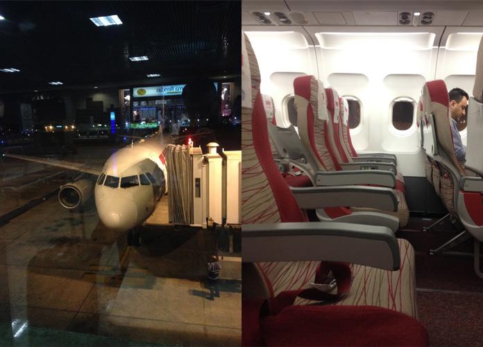 O A320 no gate em Congonhas, o vôo estava bem vazio