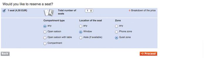 Escolha do tipo de assento