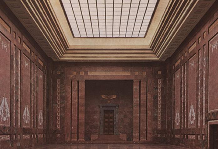 A Chancelaria era revestida de mármore vermelho por dentro e por fora