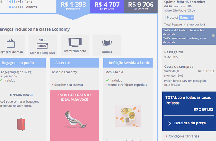 Direto no site da Air France: R$2.601,00
