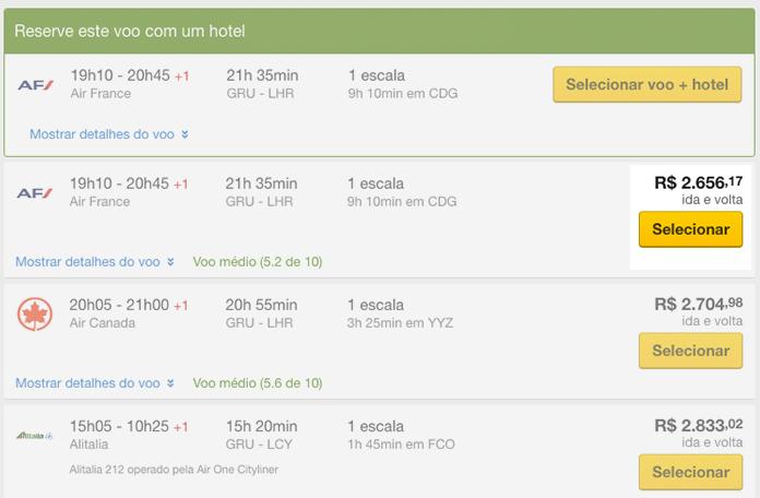 Expedia: R$2.656,00 já com as tarifas