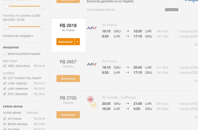 Kayak: R$2.618,00 já com as tarifas
