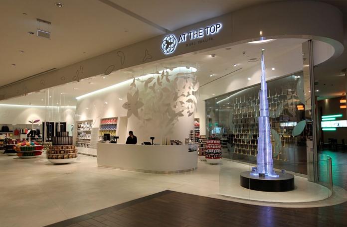 Entrada do deck de observação e a loja de lembrancinhas do Burj Khalifa