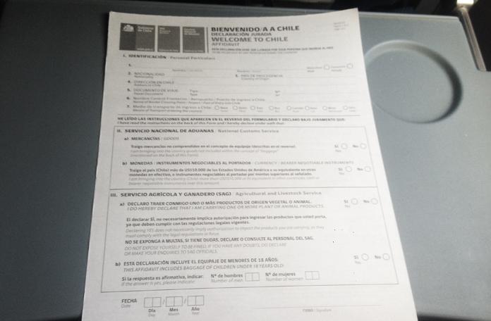 Formulário da alfândega