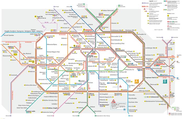 Mapa da rede de trens e metrô de Berlim