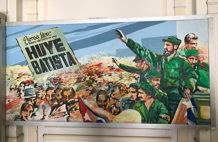 Um dos painéis que ilustram o museu