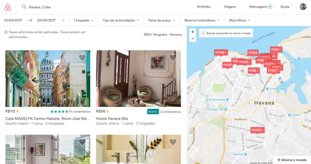 Várias opções de casas no Airbnb