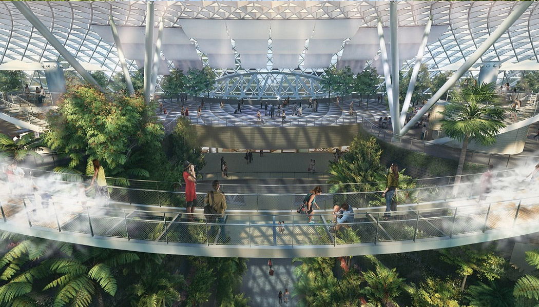 Passarelas que lembram o Cloud Forest no Gardens by the bay