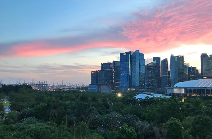 Anoitecer em Cingapura