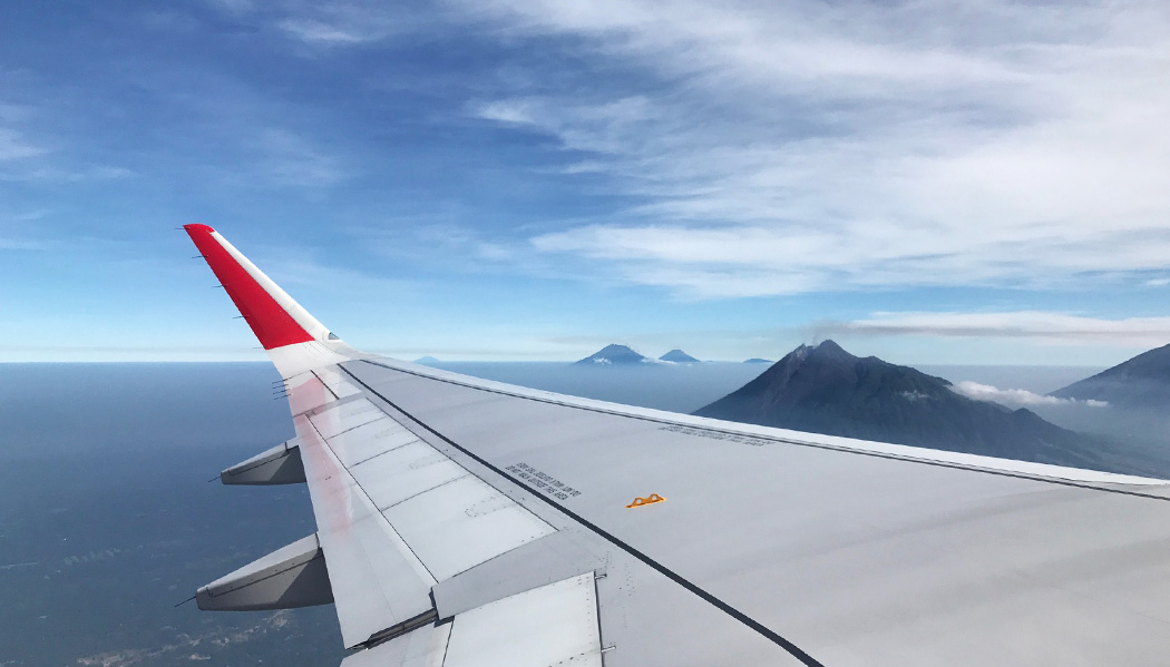Vulcões na chegada a Indonésia