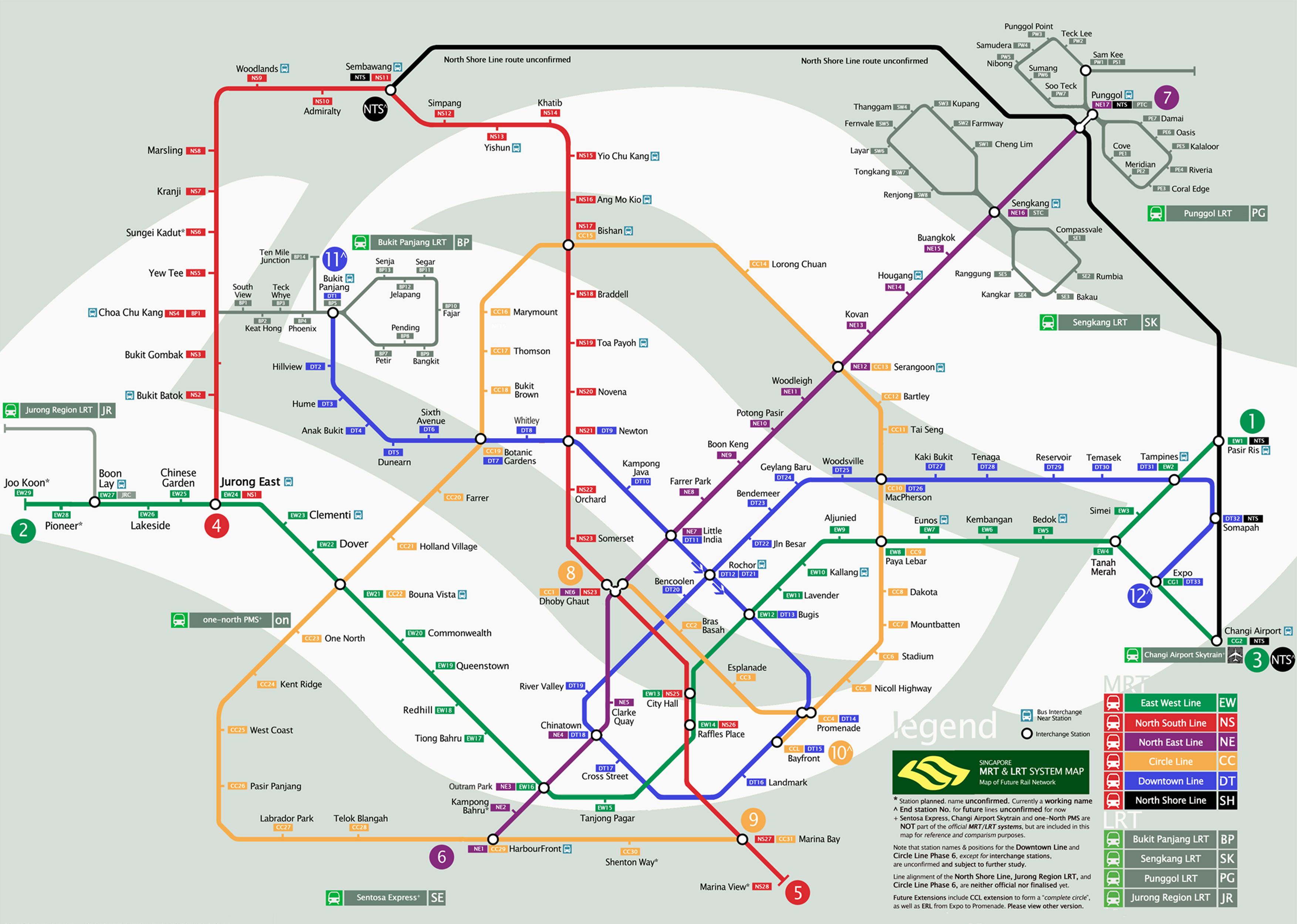 Mapa atualizado do metrô de Cingapura