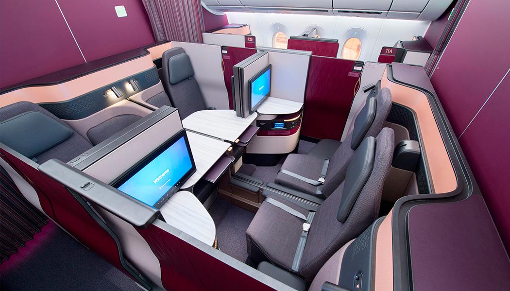 como é voar na Qsuite da Qatar Airways Voando para Doha